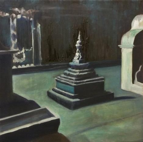 Hilja Roivainen, Temple Square II, oil on canvas, 40 x 40 cm, 2016